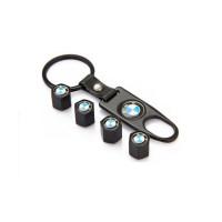 Ключодържател с 4 бр капачки за винтилите/ вентили БМВ/BMW- черен цвят