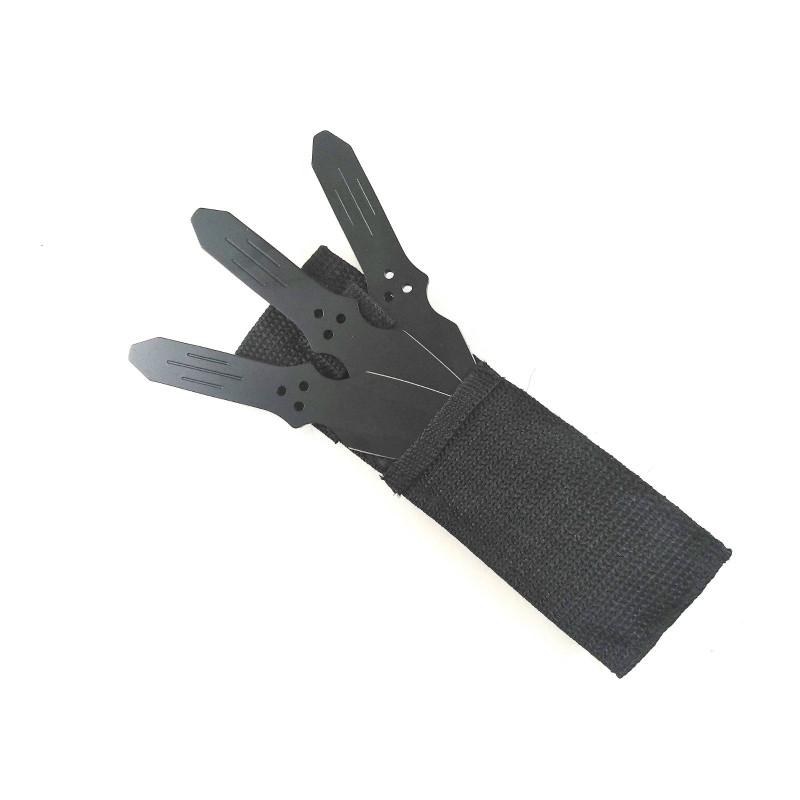 Ками ножове пластини кунай за хвърляне,мятане с черно тефлоново покритие и калъф