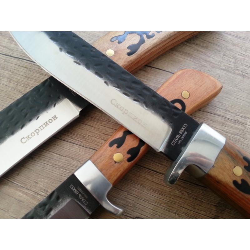Комплект руски ножове за лов,клане и дране- Скорпион стал 65x13